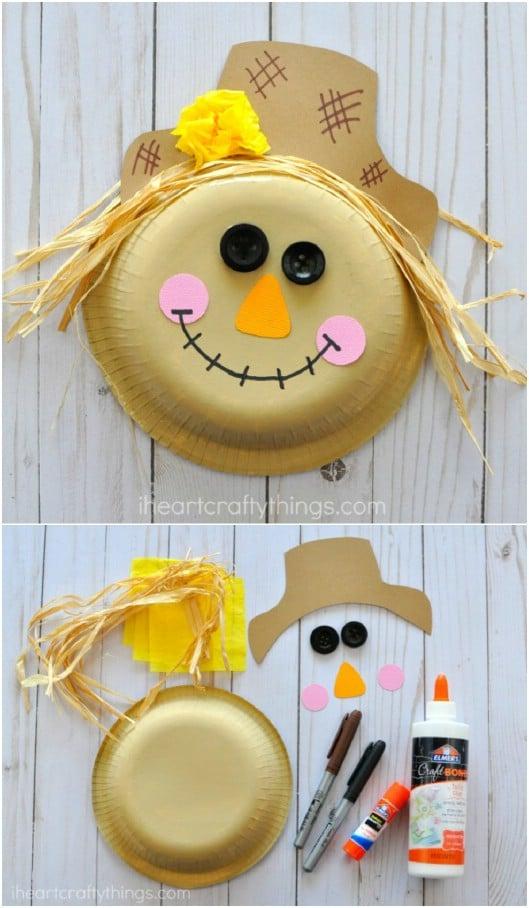 Easy DIY Paper Bowl Scarecrow Craft