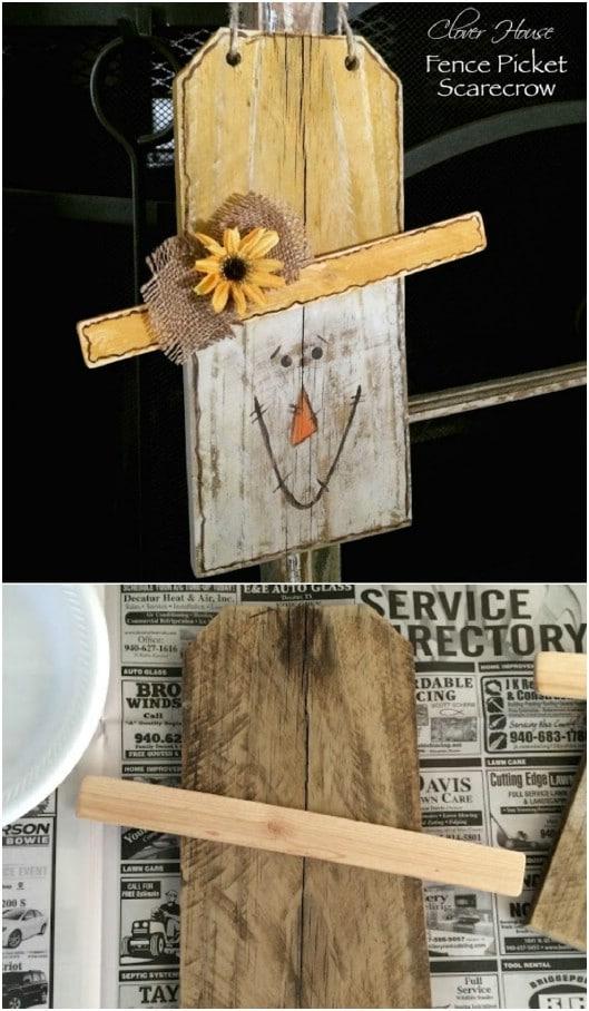 Rustic DIY Picket Fence Scarecrow