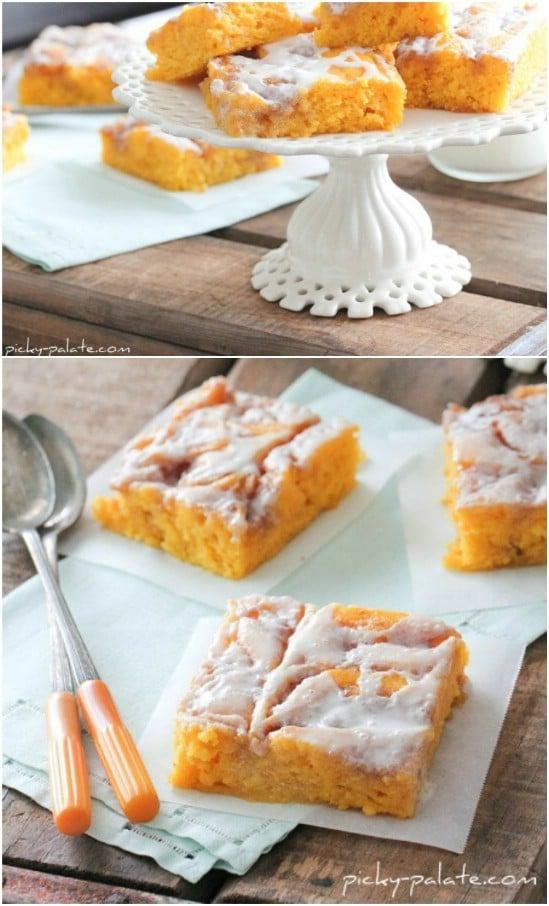 Cinnamon Roll Pumpkin Vanilla Cake