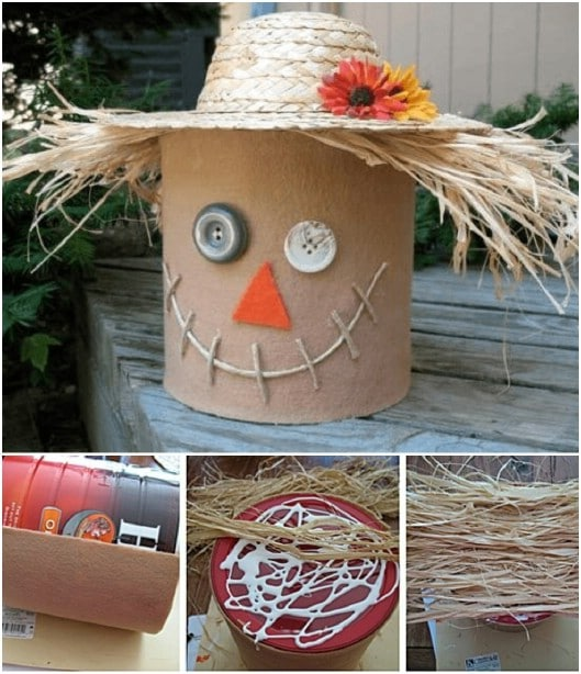 Cute Repurposed Coffee Can Scarecrow