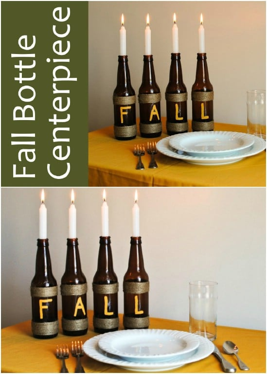 Upcycled Bottle Fall Centerpiece