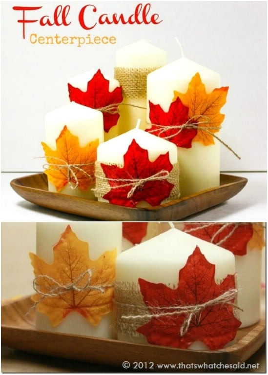Decorated Fall Candle Centerpiece