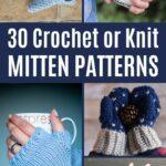 Crochet mitten collage