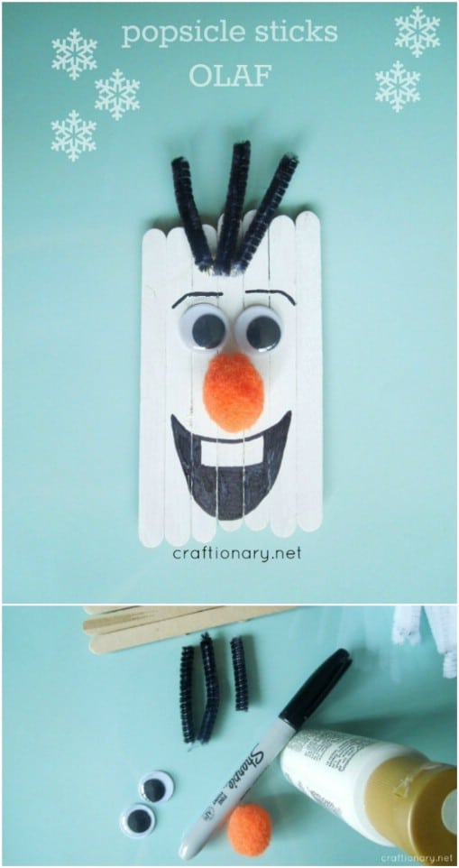 Frozen Inspired Popsicle Stick Ornaments