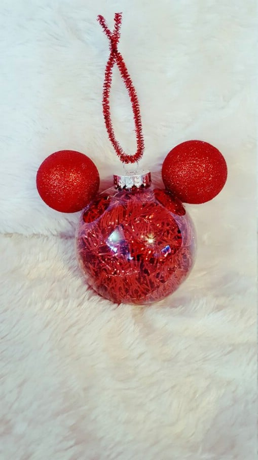 Mickey Tinsel Filled Ornament