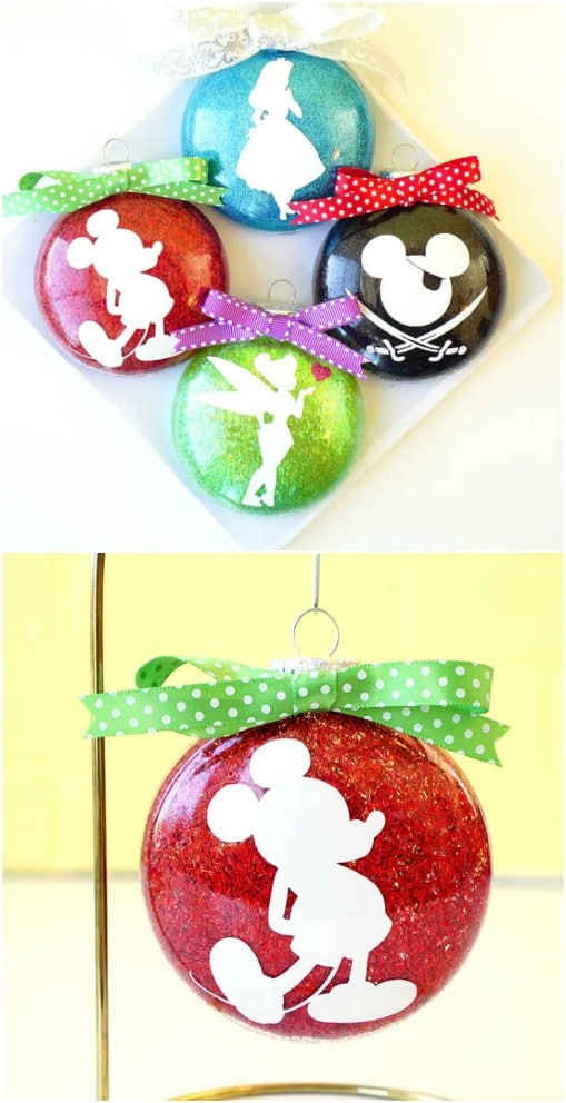 Gorgeous DIY Disney Silhouette Glitter Ornaments