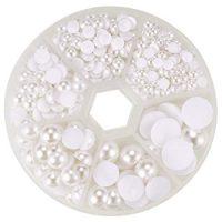 Pandahall 1 Box White Mixed Sizes Flat back Pearl Cabochon (about 690pcs/box)