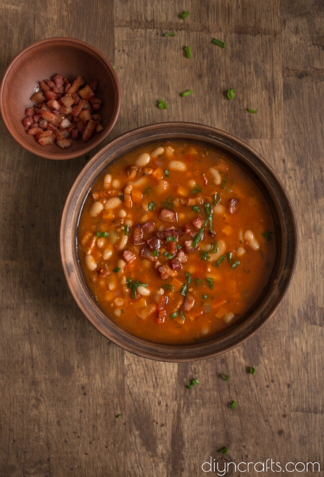 Yummy White Bean Soup with Crispy Bacon - Recipe