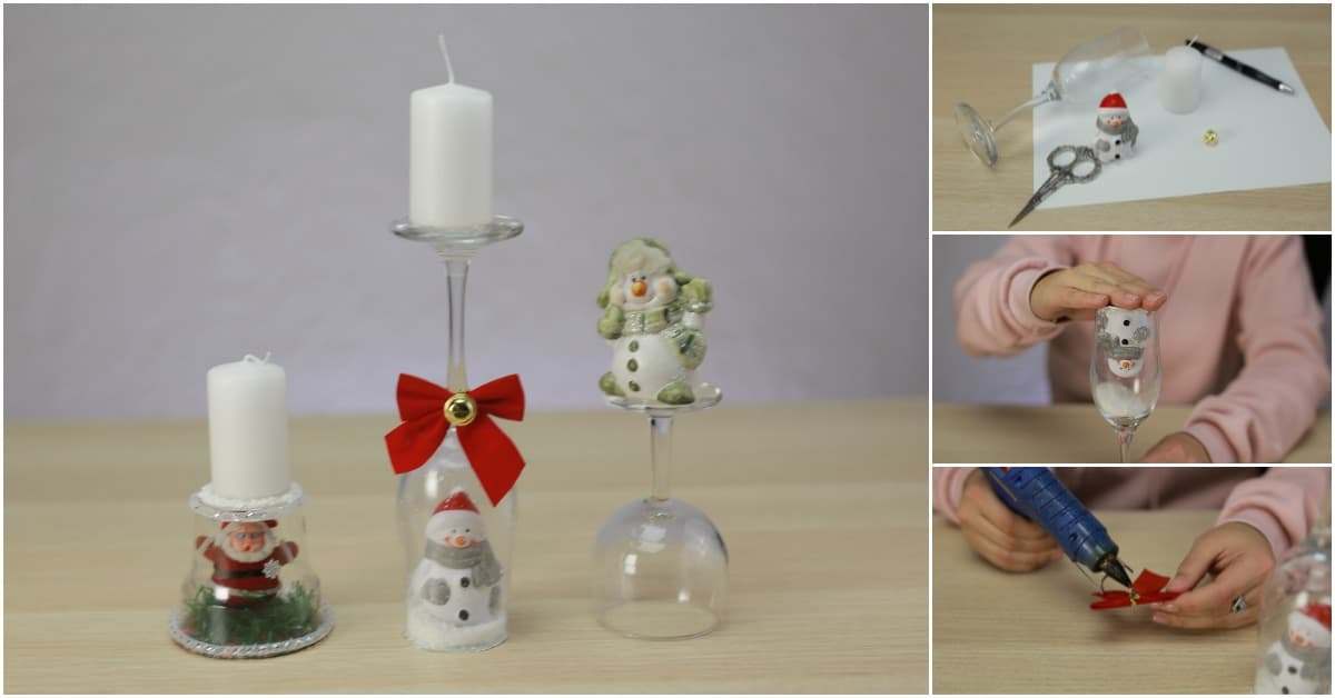 How To Make Festive Christmas Candle Holders Out Of Wine Glasses Diy Crafts