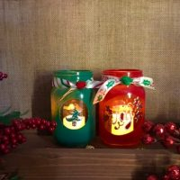 Christmas Mason Jars Candle Holder Set