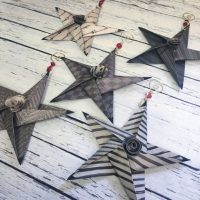 Set of Origami Paper Stars Christmas Hanging Ornaments