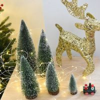 Miniature Christmas Tree Green frosted brush sisal trees set