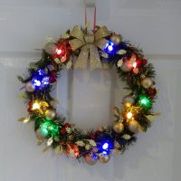 Multi colored Light Up Christmas Wreath