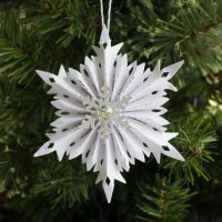 Snowflake Christmas ornaments - paper rosette set Austrian Crystals