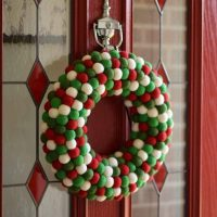 Holly and Ivy Felt Ball Wreath