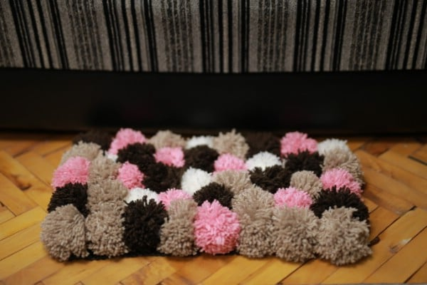 How to Make a Beautiful Rug Out of DIY Pom Poms