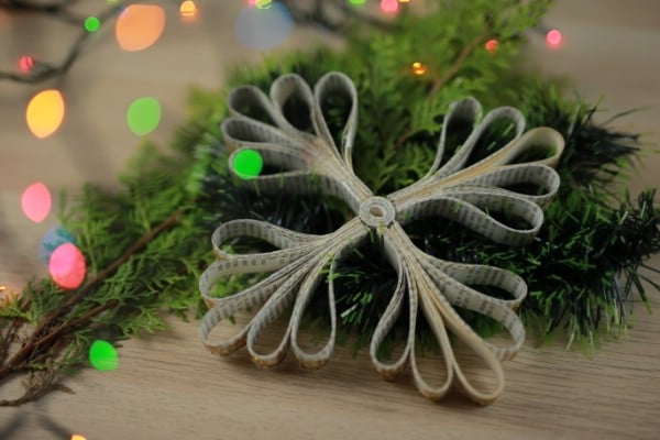 How to Make Snowflake Ornaments Out of an Old Book