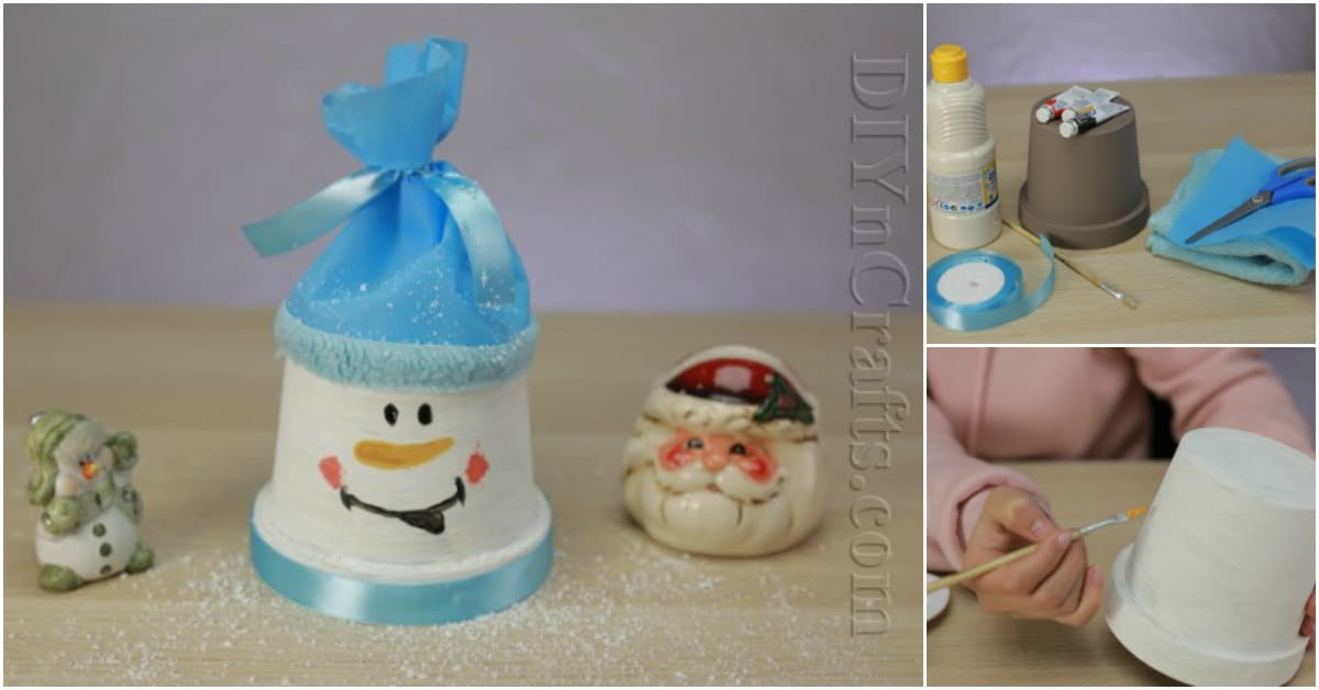 How To Make A Cute Snowman Out Of Flower Pot Video Tutorial Diy Crafts