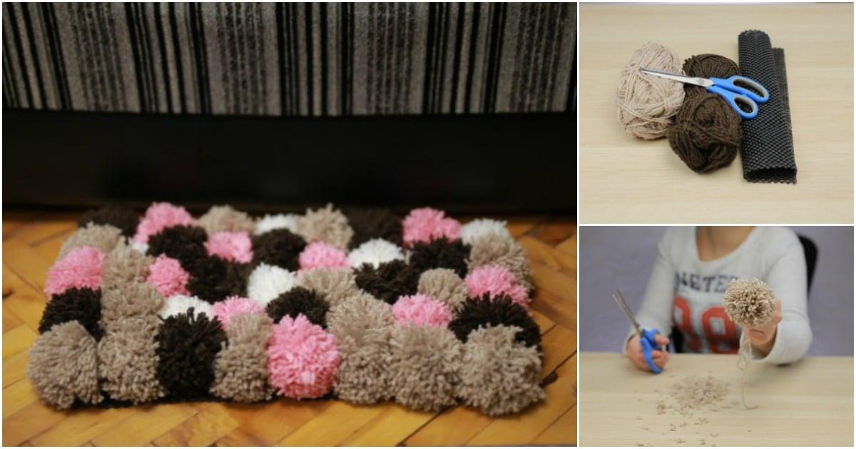 168b66efbda How to Make a Beautiful Rug Out of DIY Pom Poms - DIY   Crafts