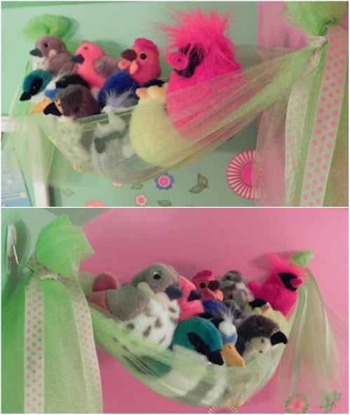 DIY Tulle Stuffed Animal Storage