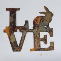 6 inch Square Love with Rabbit Bunny