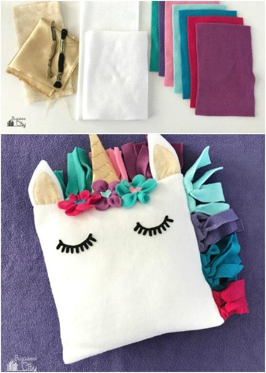 DIY Fleece Unicorn Pillow