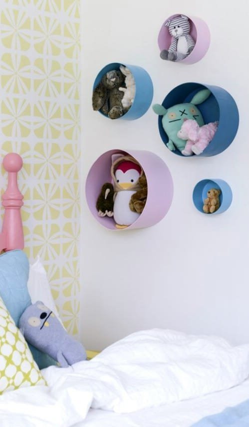 Repurposed Hat Box Stuffed Animal Storage
