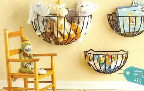 Repurposed Garden Basket Storage