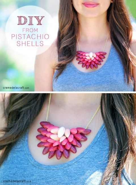 Gorgeous DIY Pistachio Shell Ombre Necklace