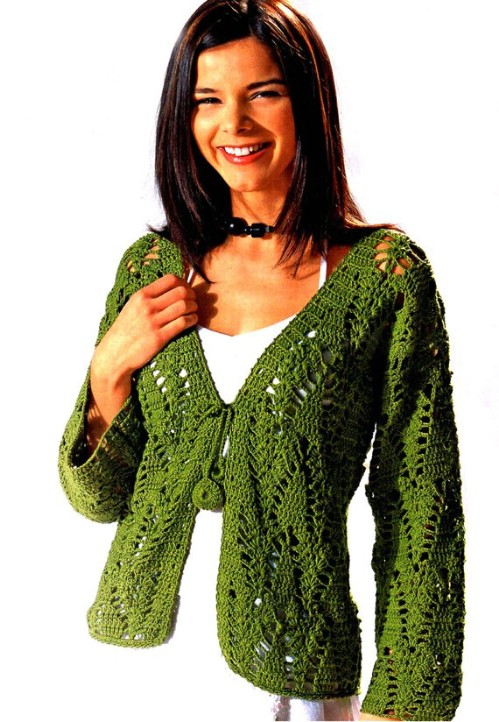 Tie Front Crocheted Cardigan
