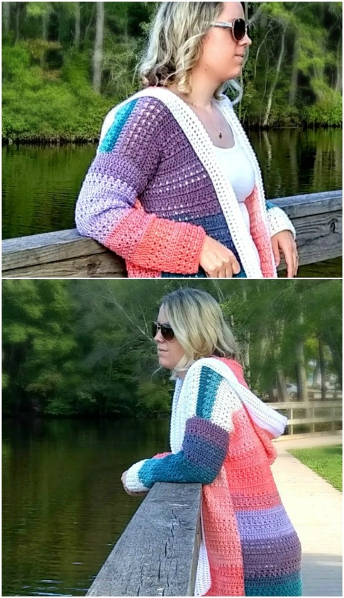 Einfache Colorblock Crochet Cardigan