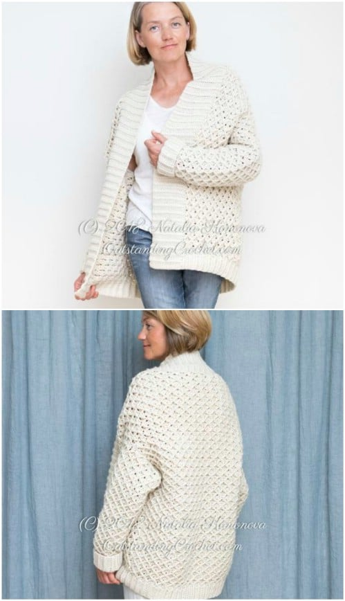 Schwere Diamond Cable Chunky Weight Cardigan