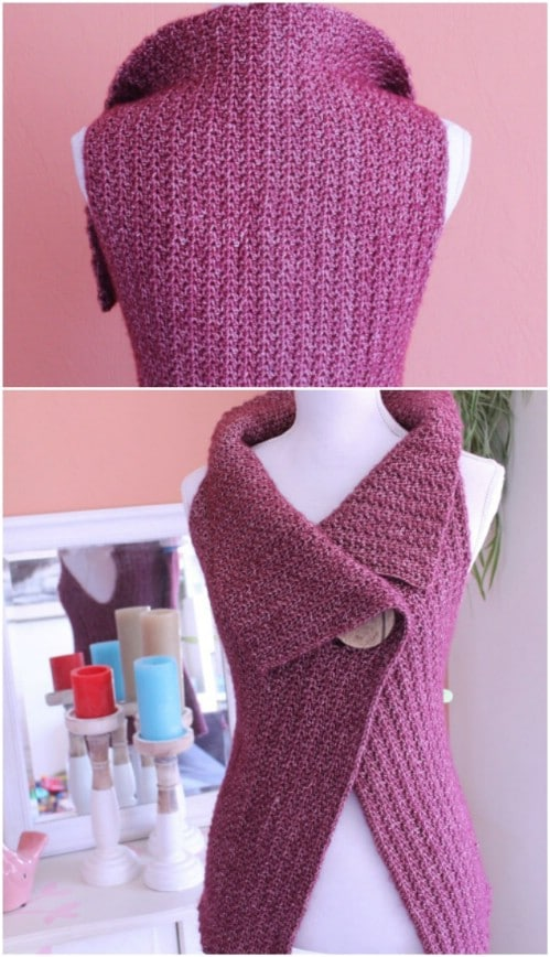 Peek-A-Boo Button Wrap Cardigan