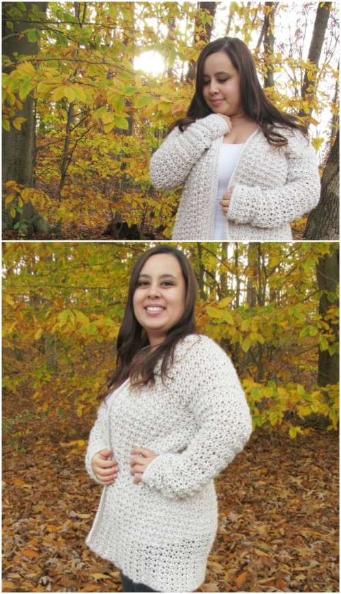 Basic Chunky Crocheted Cardigan