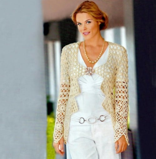 Crocheted Wedding Jacket Cardigan