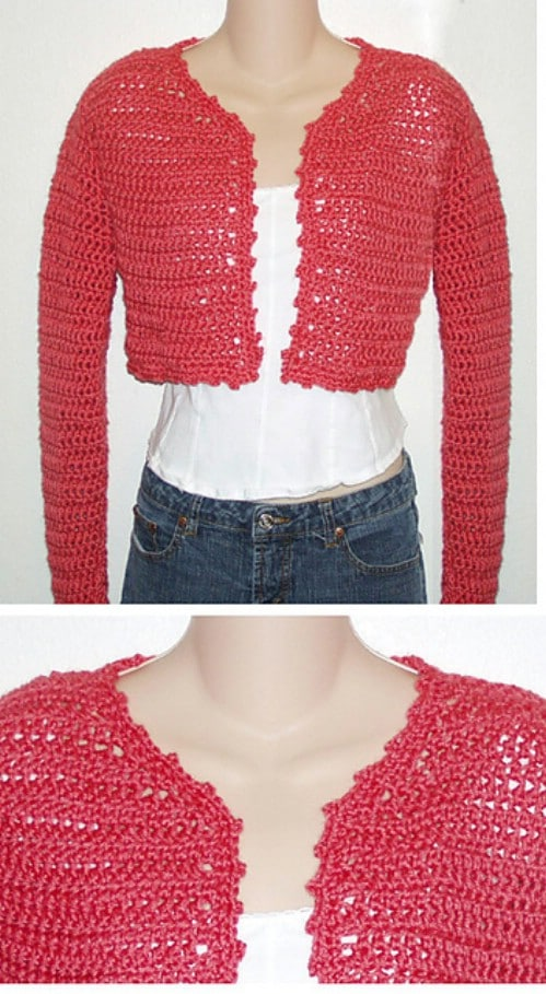 Coral Cropped Crochet Cardigan