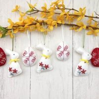 Set of 7 felt hanging Easter decoration