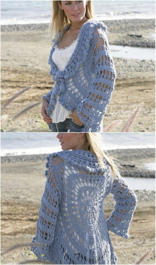 Lightweight Drop Circle Crochet Cardigan