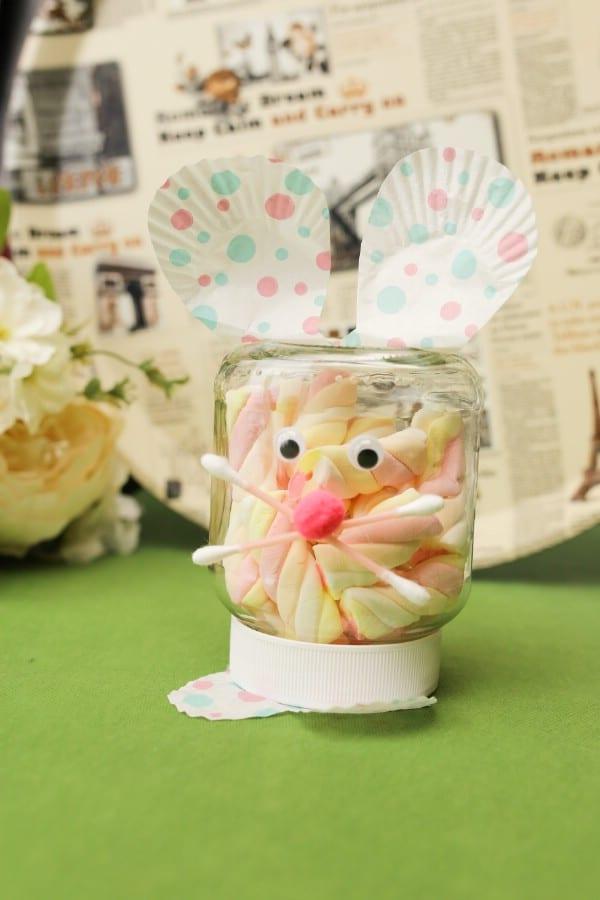 Repurpose a Nutella Jar Into a Cute Easter Bunny Container for Treats