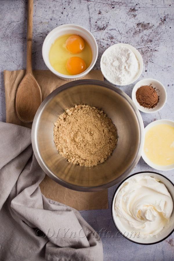 Coconut cake ingredients.