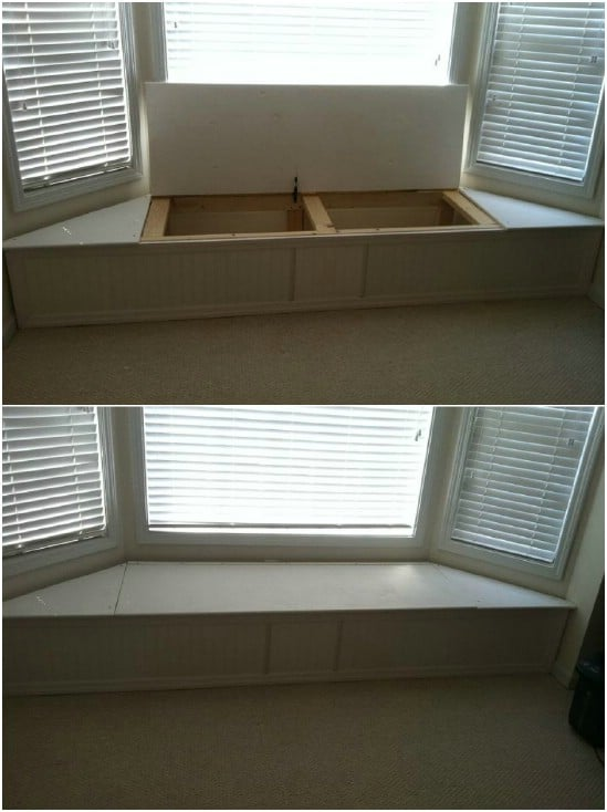 DIY Bay Window Storage Bench