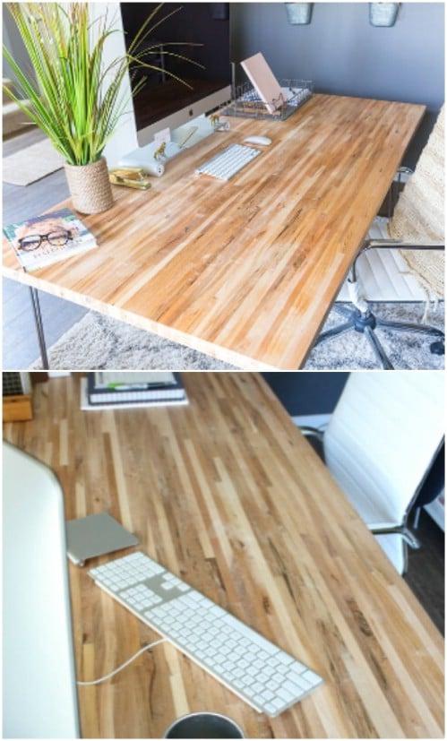 Easy DIY Butcher Block Desk