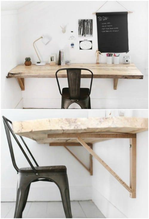 Rustic Wood Wall Mounted Desk