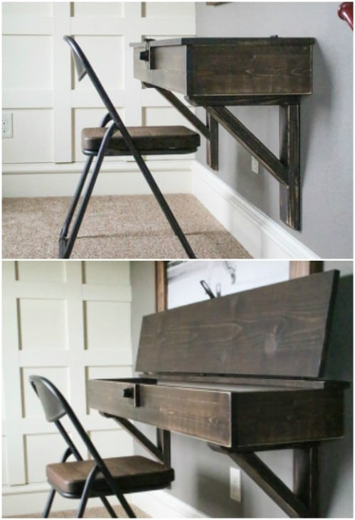 Space Saving DIY Floating Desk With Storage