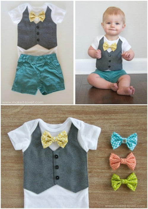 Vest Design Onesie With Bow Ties