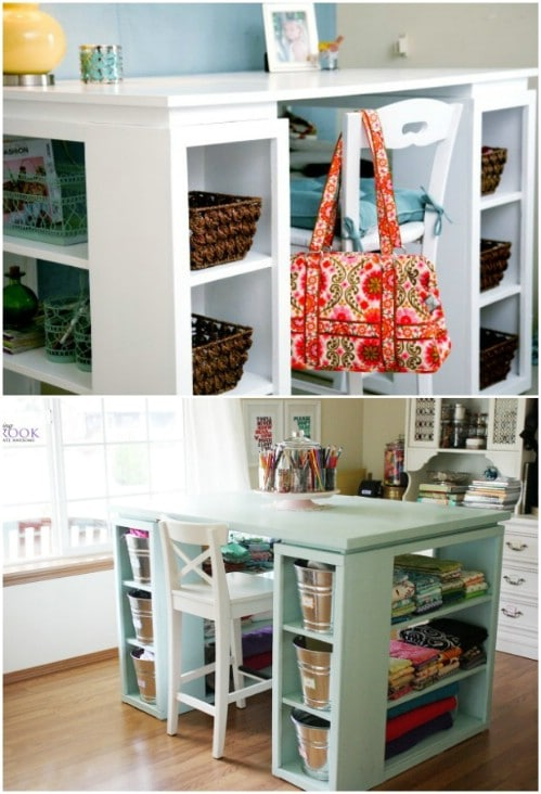 DIY Craft Desk With Bookshelves