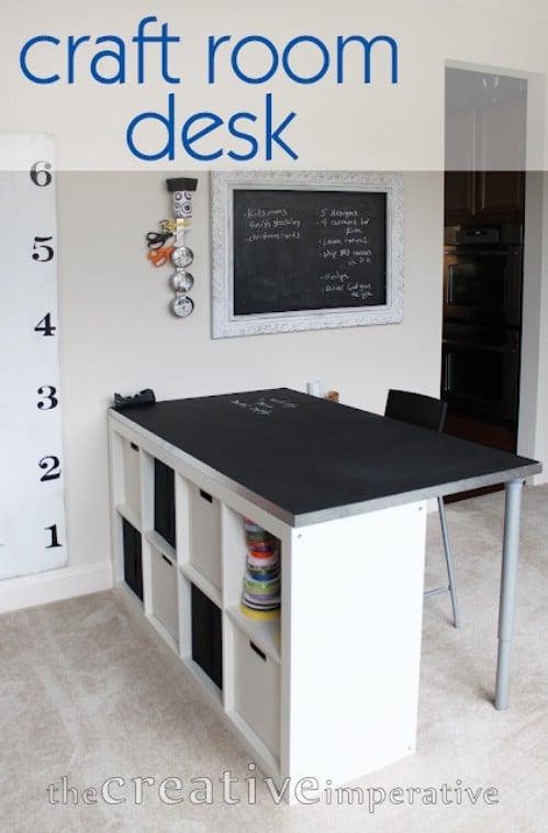DIY Craft Desk With Shelves