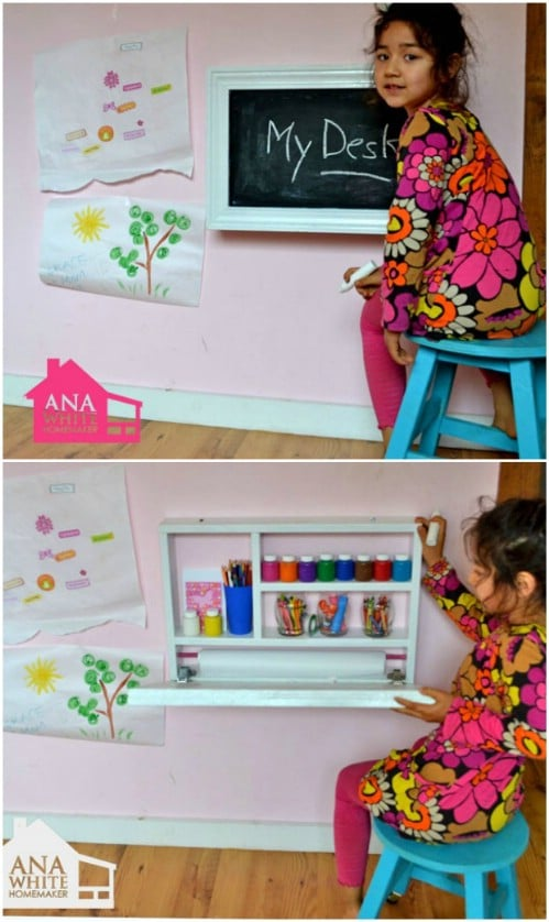 DIY Chalkboard Fold Up Desk