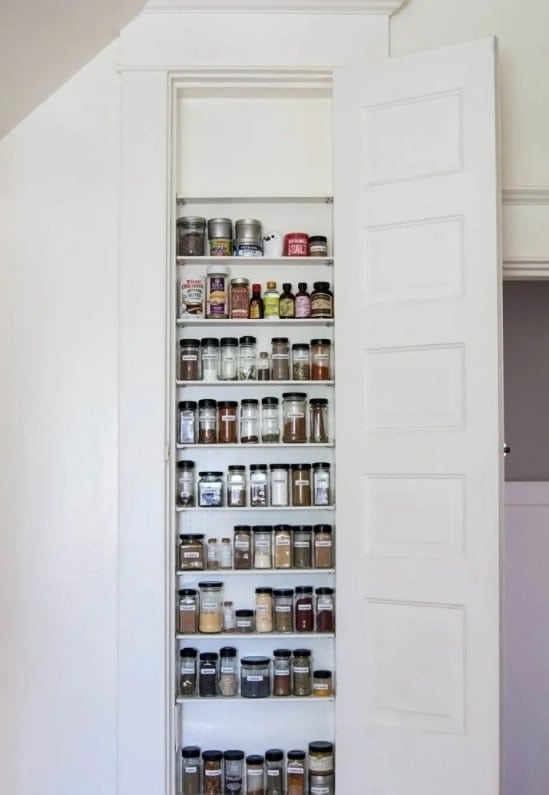 Hidden Kitchen Spice Shelves