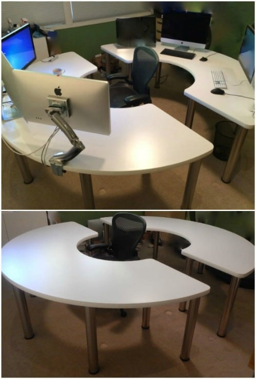 DIY Round Computer Desk
